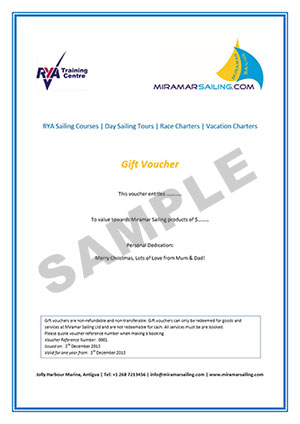 Sailing gift voucher Antigua, yacht voucher Caribbean sailing and ...