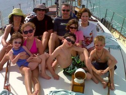 Antigua sailing boat family group